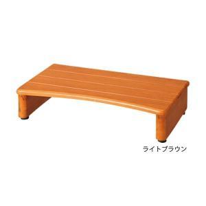 天然木玄関台(踏み台) 〔2: 幅60cm〕 木製 アジャスター付きダークブラウン rcmdse 03