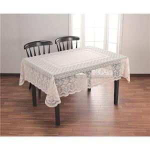 撥水加工レーステーブルクロスベージュ 140×180cm長方形(小)〔代引不可〕の画像