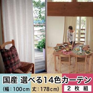【国産】選べる14色カーテン  2枚組(幅:100cm  丈:178cm)  代引不可|rcmdse