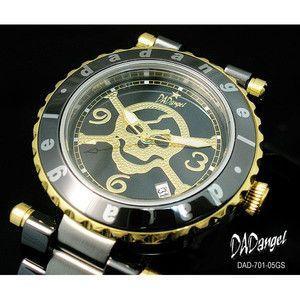 DADangel ダッドエンジェル 腕時計 スカル セラミック メンズウォッチ DAD701-05GS ブラック×ゴールド|rcmdse