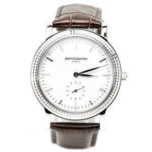 pierretalamon ピエールタラモン 腕時計 メンズ ウォッチ スモールセコンド バーインデックス ブラウンxシルバー PT-5100H-3|rcmdse