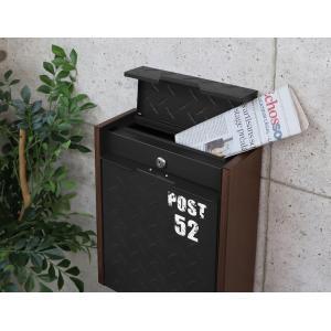 ポスト 壁掛けポスト ブラック グレー ブラウン 鍵付き 防犯 錆びにくい 代引不可|rcmdse|05