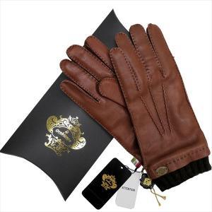 OROBIANCO オロビアンコ メンズ手袋 ORM-1413 Leather glove 鹿革 ウール BROWN サイズ:8 23cm ギフト プレゼント クリスマス|rcmdse