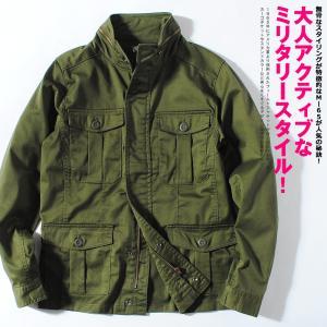 M-65 ミリタリージャケット M65 ストレッチツイル フィールドジャケット メンズ  カーキ オ...