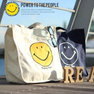スマイルトートバッグ キャンバストート カバン 鞄 メンズ レディース スマイル公認 スマイル財団公式 オフィシャル スマイリーロゴ|re-ap
