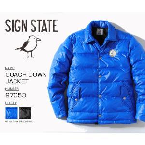 0f604168c19a ダウン コーチジャケット ダウンジャケット SIGN STATE サインステイト ニット COACH DOWN JACKET 羽毛 冬物 冬服 メンズ