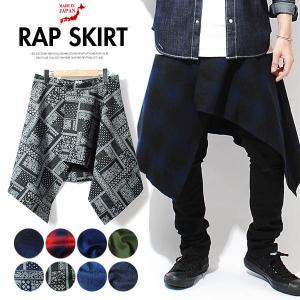 チェックパターン巻きスカート / スカート ひざ丈 ラップスカート 巻きスカート メンズ スカート ボトムス パンツ ファッション メンズ|re-ap