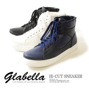 【送料無料!!】ハイカットスニーカー PUレザー /メンズ glabella グラベラ スニーカー 靴 シューズ ダンス ストリート|re-ap
