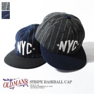 BBキャップ ストライプ NYC ウールベースボールキャップ オールドマンズ OLDMAN'S フラットバイザー re-ap