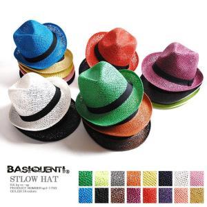 カラーストローハット/メンズ/麦わらハット帽子/レディース re-ap
