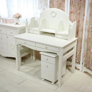 日本製 リエルショップオリジナル白家具シリーズ celesta チェレスタ 学習デスク3点セット(デスク高さ72cmタイプ+ブックスタンド+サイドワゴン)|re-l