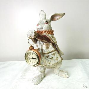 ウサギの置物 バロックラビットトランプラビット クロック 時計付きバニーオブジェ イースター ディス...