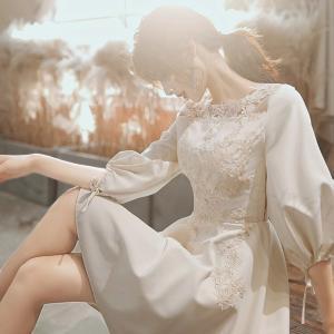 パーティドレス 結婚式 披露宴 Aラインドレス 膝丈ワンピース レディース 二次会ドレス 七分丈袖 ...
