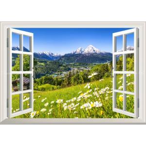 絵画風 壁紙ポスター  -窓の景色- アルプス山脈 ヴァッツマンとカモミール ベルヒテスガーデン国立公園 【窓仕様】 ALPS-004MA2 (A2版 594mm×420mm)|real-inter