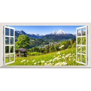絵画風 壁紙ポスター  -窓の景色- アルプス山脈 ヴァッツマンとカモミール ベルヒテスガーデン国立公園 パノラマ 【窓仕様】 ALPS-004MS1 (1152mm×576mm)|real-inter