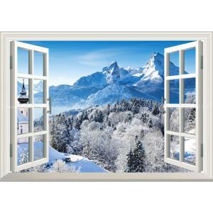 絵画風 壁紙ポスター  -窓の景色- アルプスの雪景色 ヴァッツマンと銀世界 ベルヒテスガーデン ドイツ 【窓仕様】 ALPS-005MA1 (A1版 830mm×585mm)|real-inter