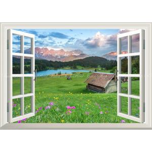 絵画風 壁紙ポスター  -窓の景色- アルプス山脈の夕焼けと草原の花 森林 湖 【窓仕様】 キャラクロ ALPS-008MA2 (A2版 594mm×420mm)|real-inter