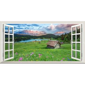 絵画風 壁紙ポスター  -窓の景色- アルプス山脈の夕焼けと草原の花 森林 湖 パノラマ 【窓仕様】 キャラクロ ALPS-008MS1 (1152mm×576mm)|real-inter
