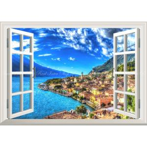 絵画風 壁紙ポスター  -窓の景色- ソレントの景色 海と空と雲 アマルフィ海岸 イタリア【窓仕様】 キャラクロ AMLF-004MA1 (A1版 830mm×585mm)|real-inter