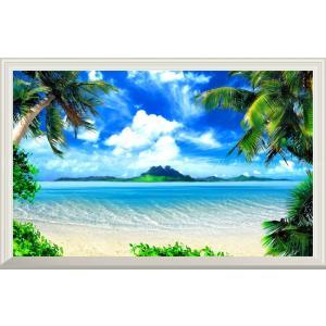 絵画風 壁紙ポスター  -窓の景色- ハワイ マウイ島のビーチと島々 ヤシの木 海 【扉なし窓仕様】...