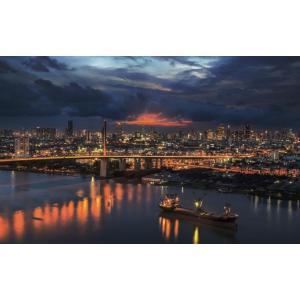 絵画風 壁紙ポスター  バンコクの夜景 クルンテープマハナコーン 曼谷 タイ王国 キャラクロ BNGK-002W1 (ワイド版 921mm×576mm) real-inter
