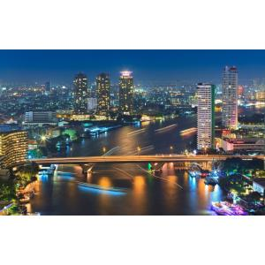 絵画風 壁紙ポスター  バンコクの夜景 チャオプラヤー川 クルンテープ タイ王国 キャラクロ BNGK-003W1 (ワイド版 921mm×576mm) real-inter