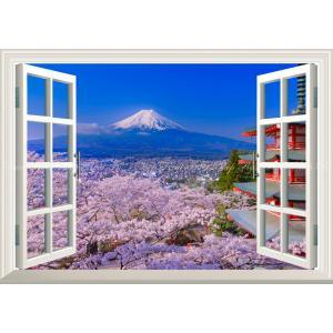 絵画風 壁紙ポスター  -窓の景色- -地球の撮り方- THE JAPANな絶景、桜富士&新倉山浅間...