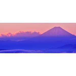 絵画風 壁紙ポスター  -地球の撮り方- 高ボッチ高原からの諏訪湖越しの赤富士 紅富士 富士山 パノラマ 絶景スポット C-ZJP-012P1 (パノラマ版 1440mm×576mm)|real-inter