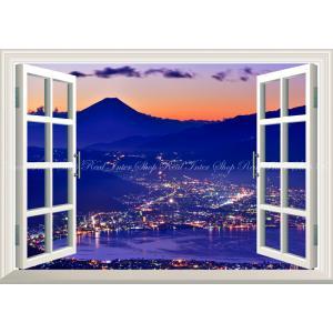 絵画風 壁紙ポスター  -窓の景色- -地球の撮り方- 極寒の宝石箱、高ボッチ高原からの諏訪湖越しの...