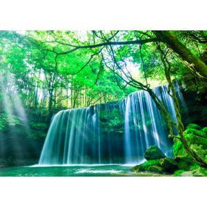 絵画風 壁紙ポスター  -地球の撮り方- これぞ自然の恵み「癒しのシャワー」 光芒と水のカーテンの鍋ケ滝 阿蘇市小国町 C-ZJP-020A1 (A1版 830mm×585mm)|real-inter
