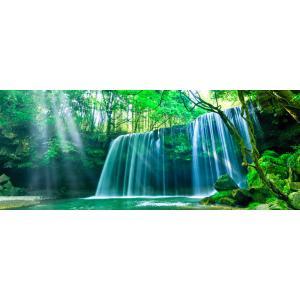 絵画風 壁紙ポスター  -地球の撮り方- これぞ自然の恵み「癒しのシャワー」 光芒と水のカーテンの鍋ケ滝 阿蘇市 C-ZJP-020P1 (パノラマ版 1440mm×576mm)|real-inter