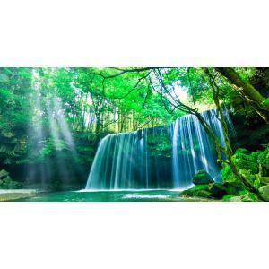 絵画風 壁紙ポスター  -地球の撮り方- これぞ自然の恵み「癒しのシャワー」 光芒と水のカーテンの鍋ケ滝 阿蘇市小国町 パノラマ C-ZJP-020S1 (1152mm×576mm)|real-inter
