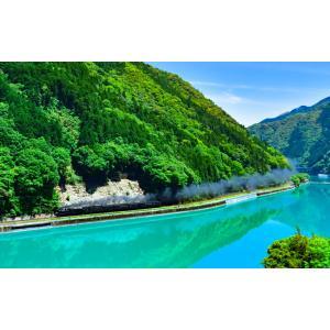 絵画風 壁紙ポスター  -地球の撮り方- エメラルドグリーンの球磨川を走るSL 熊本県人吉市の絶景 蒸気機関車 日本の絶景 C-ZJP-027BW2 (ワイド版 603mm×376mm)|real-inter