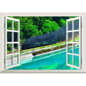 絵画風 壁紙ポスター  -窓の景色- -地球の撮り方- エメラルドグリーンの球磨川を走るSL 熊本県人吉市の絶景車 【窓仕様】 C-ZJP-027MA1 (A1版 830mm×585mm)|real-inter
