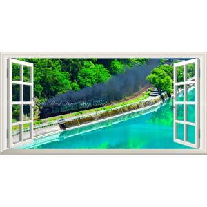 絵画風 壁紙ポスター  -窓の景色- -地球の撮り方- エメラルドグリーンの球磨川を走るSL 熊本県人吉市 パノラマ 【窓仕様】 C-ZJP-027MS1 (1152mm×576mm)|real-inter