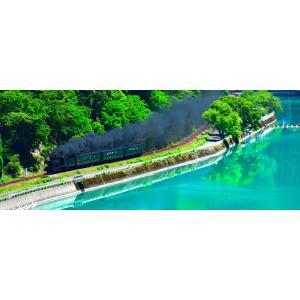 絵画風 壁紙ポスター  -地球の撮り方- エメラルドグリーンの球磨川を走るSL 熊本県人吉市の絶景 蒸気機関車 パノラマ C-ZJP-027P1 (パノラマ版 1440mm×576mm)|real-inter