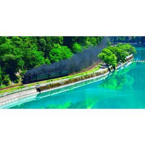 絵画風 壁紙ポスター  -地球の撮り方- エメラルドグリーンの球磨川を走るSL 熊本県人吉市の絶景 パノラマ C-ZJP-027S1 (1152mm×576mm)|real-inter