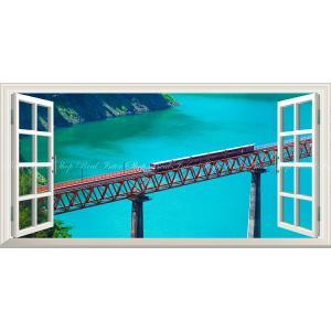 絵画風 壁紙ポスター  -窓の景色- -地球の撮り方- エメラルドグリーンの秘境駅、大井川鐵道 パノ...