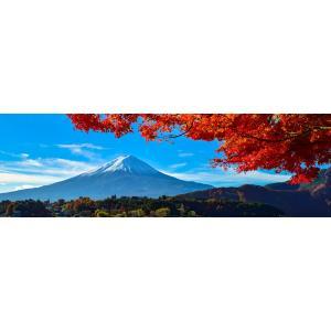 絵画風 壁紙ポスター  -地球の撮り方- 河口湖の紅葉まつりと富士山 パノラマ 日本の絶景 キャラクロ C-ZJP-036L1 (パノラマL版 1843mm×576mm)|real-inter