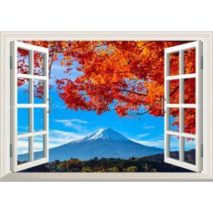 絵画風 壁紙ポスター  -窓の景色- -地球の撮り方- 河口湖の紅葉まつりと富士山 日本の絶景 【窓...