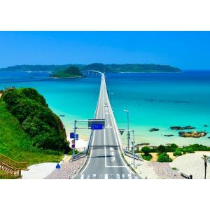 絵画風 壁紙ポスター  -地球の撮り方- 日本一美しい橋、山口県の角島大橋の絶景 日本の絶景 キャラクロ C-ZJP-044A1 (A1版 830mm×585mm)|real-inter