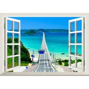 絵画風 壁紙ポスター  -窓の景色- -地球の撮り方- 日本一美しい橋、山口県の角島大橋の絶景 【窓仕様】 キャラクロ C-ZJP-044MA2 (A2版 594mm×420mm)|real-inter