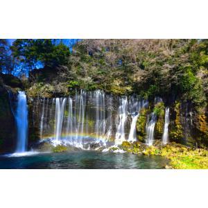 絵画風 壁紙ポスター  -地球の撮り方- 流れ落ちる絹糸、富士宮の白糸の滝 日本の絶景 キャラクロ C-ZJP-064W1 (ワイド版 921mm×576mm)|real-inter
