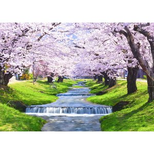 絵画風 壁紙ポスター  -地球の撮り方- 流れ落ちる段々の川と桜の絶景、猪苗代町の観音寺川の桜並木 日本の絶景 キャラクロ C-ZJP-076A2 (A2版 594mm×420mm)|real-inter