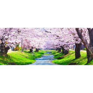 絵画風 壁紙ポスター  -地球の撮り方- 流れ落ちる段々の川と桜の絶景、猪苗代町の観音寺川の桜並木 パノラマ C-ZJP-076P1 (パノラマ版 1440mm×576mm)|real-inter