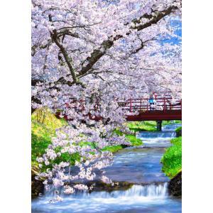 絵画風 壁紙ポスター  -地球の撮り方- 流れ落ちる段々の川と桜の絶景、猪苗代町の観音寺川の桜並木 日本の絶景 キャラクロ C-ZJP-078A2 (A2版 420mm×594mm)|real-inter