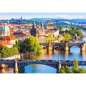 絵画風 壁紙ポスター  プラハの景色 プラハの橋 百塔のプラハ チェコ共和国 キャラクロ CPRH-001A2 (A2版 594mm×420mm)|real-inter
