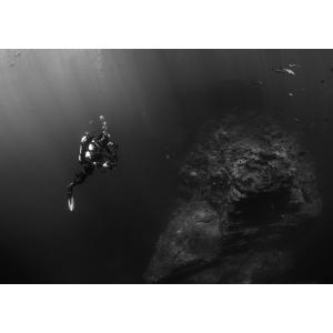 絵画風 壁紙ポスター  ダイビング スキューバ ダイバー 深海 海 海底 キャラクロ DVG-003A1 (A1版 830mm×585mm) real-inter