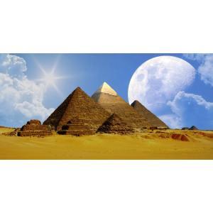 絵画風 壁紙ポスター  ギザの三大ピラミッドとビッグムーン 月 古代エジプト 世界遺産 ピラミッドパワー パノラマ キャラクロ EPMD-011S1 (1152mm×576mm) real-inter
