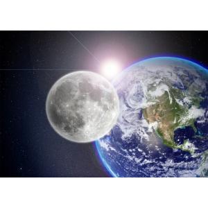 絵画風 壁紙ポスター  地球 月 銀河系 宇宙 天体 神秘 癒し パワー キャラクロ ERT-001A1 (A1版 830mm×585mm) real-inter
